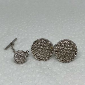 Textured round cufflinks set silver toned classic